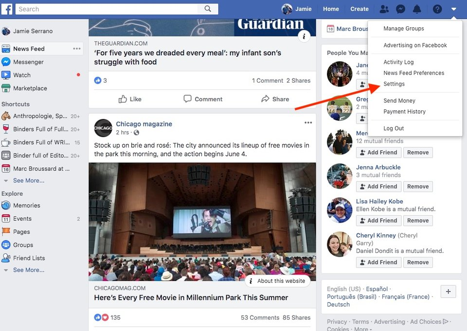 Open the Facebook menu and click Settings.