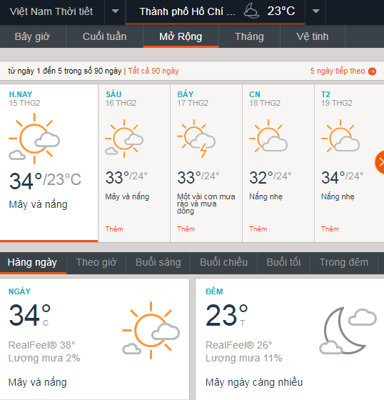 Thời tiết TPHCM 15/2/18 voh.com.vn