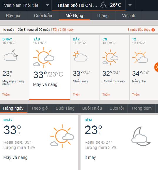 Thời tiết TPHCM 16/2/18 voh.com.vn
