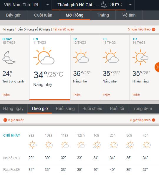 Dự báo thời tiết TPHCM ngày mai 11-3