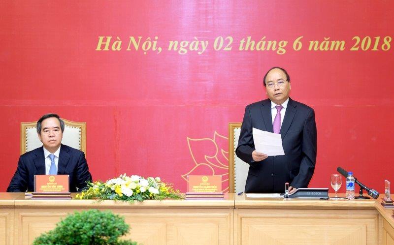 Thủ tướng Nguyễn Xuân Phúc phát biểu tại lễ ký Quy chế phối hợp công tác. Ảnh: VGP/Quang Hiếu