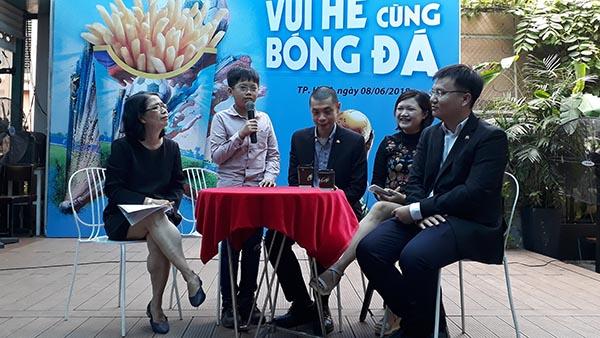 Em Nguyễn Lê Thanh Sơn, đại diện duy nhất Việt Nam tham dự World Cup 2018 tại Nga chia sẻ tại sự kiện Vui hè cùng bóng đá.