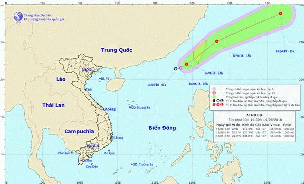 Đường đi của áp thấp nhiệt đới đang hướng về Đài Loan