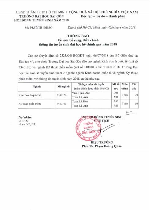 Đại học Sài Gòn điều chỉnh thông tin tuyển sinh năm 2018