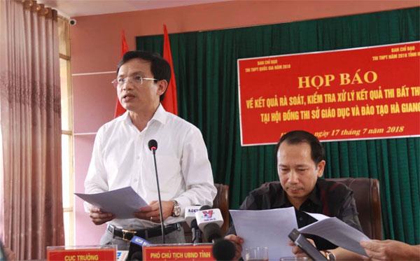 Thông tin về xử lý kết quả điểm thi bất thường tại Hà Giang