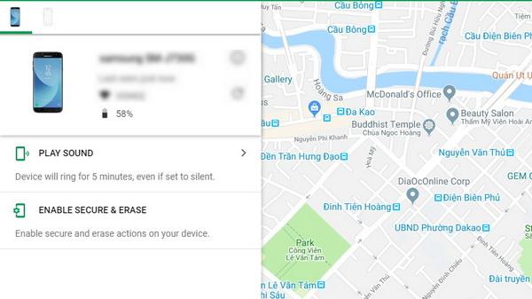 định vị điện thoại Android khi bị thất lạc