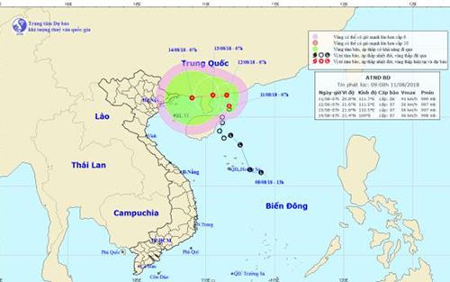 Áp thấp nhiệt đới: Vùng biển từ Bình Thuận - Cà Mau, Cà Mau - Kiên Giang có mưa dông mạnh