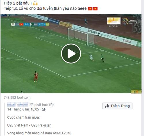 phát lậu bóng đá, Asiad 2018, Facebook, YouTube,