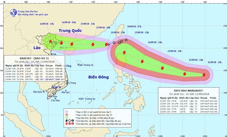 bão 2018, cơn bão số 5, bão BARIJAT