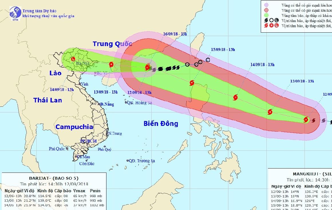 bão 2018, Bão số 5, bão BARIJAT, áp thấp nhiệt đới, dự báo thời tiết