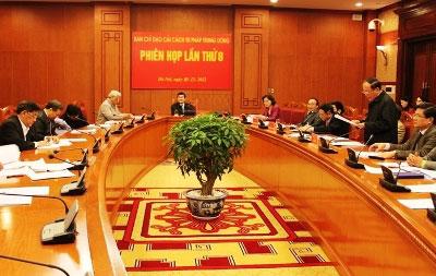 Phiên họp lần thứ 8 Ban Chỉ đạo Cải cách tư pháp Trung ương, Phien hop lan thu 8 Ban Chi dao Cai cach tu phap Trung uong